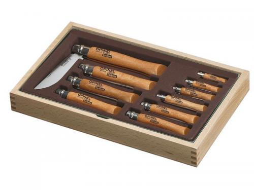 RAmasse monnaie bois 10 couteaux opinel